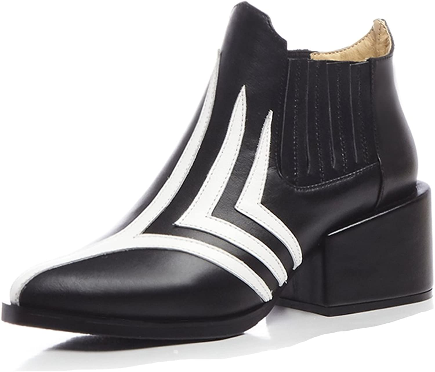 MINIVOG Women's Stripe Decoration Handcrafted Leather Mid Heel Ankle Boots