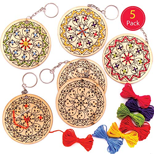 Baker Ross Rangoli Wooden Cross Stitch Keyring Kits, Arts and Crafts for Kids (Pack of 5)
