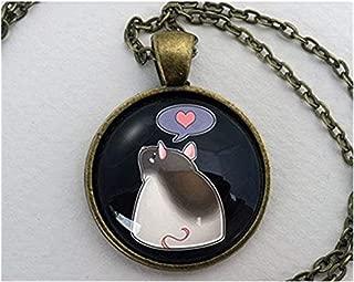Dandelion Rat Necklace, Glass Dome Pendant, Cute Pet Lover Gift, Round Art Charm Jewelry, Pet Memorial Jewellery