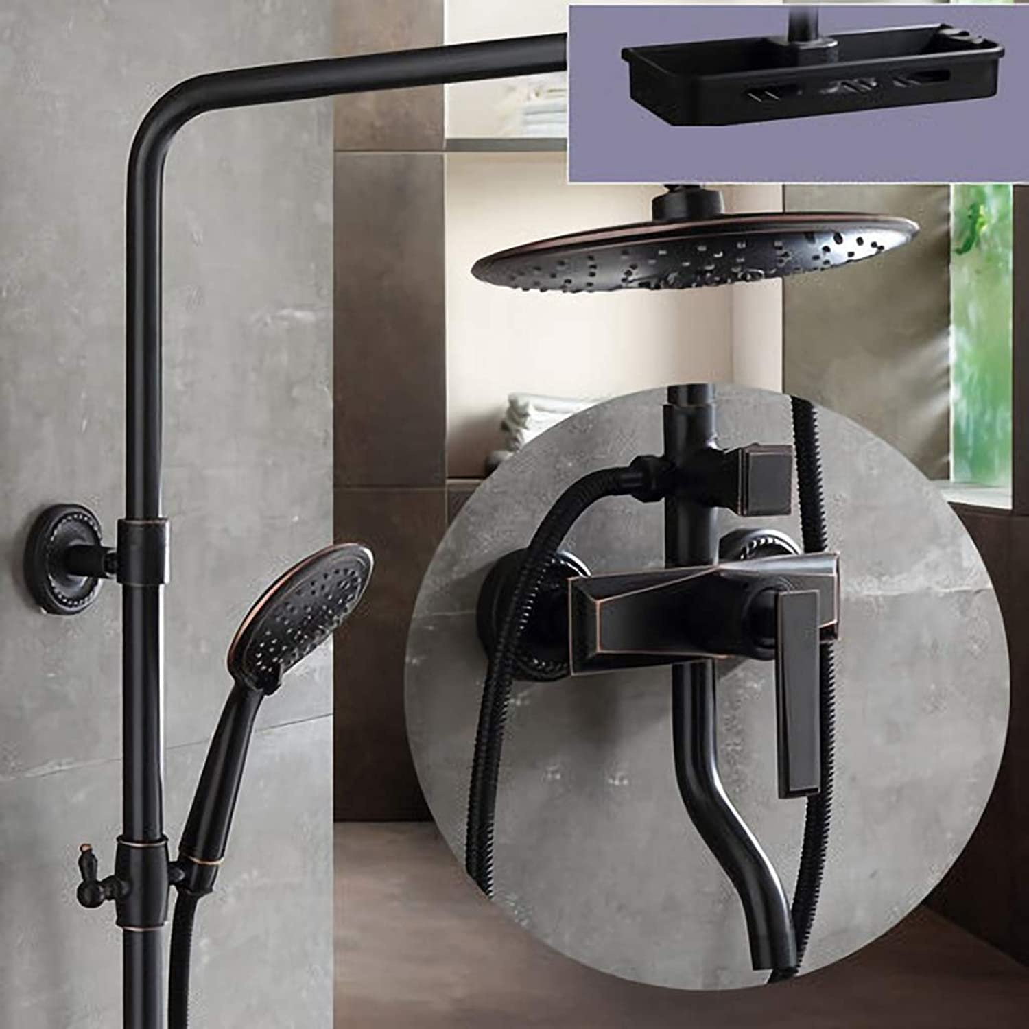 8  Rainfall Round Showerhead Bathroom Shower Mixer Taps Wall Mount Tub Shower Faucet With Hand Shower color black