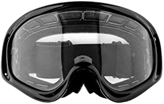 Typhoon ATV Goggles Motorcycle Off Road Unisex Adult and Youth - Gloss Black w/Clear Lens