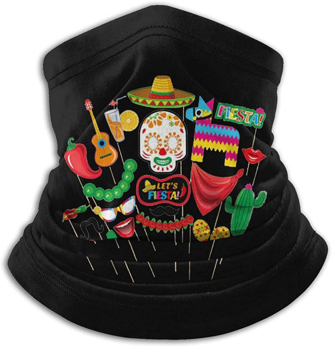 Cinco De Mayo Black Multi-function Neck Warmer Gaiter Polyester Neck Warmer Windproof Winter Neck Gaiter Cold Weather Scarf For Men Women