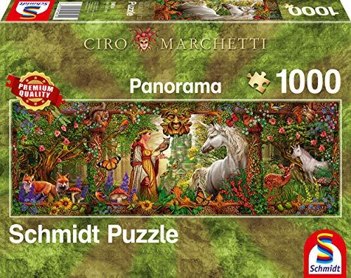 Schmidt Spiele Puzzle 59614 Ciro Marchetti, Märchenwald, 1000 Teile Panorama - Puzzle, bunt