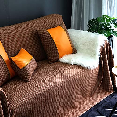 XQWZM Cubierta Nordic Minimalista Couch,Sala De Estar Sofá Slipcover,Cubierta De Cojín De Saco Suave Grueso,Protector Universal De Muebles Four Seasons,1 Pieza-Naranja. 180x300cm(71x118inch)