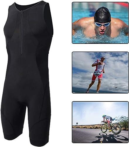 YILIFA Ensemble de vêteHommests pour Hommes, Costume d'été pour Cyclisme, pour Triathlon, Course à Pied, Natation,2XL