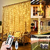WEARXI 300 LEDs Lichtervorhang Deko - Lichterkette Lichtvorhang, 3M 8 Modi LED Vorhang Lichterketten für Zimmer Deko Schlafzimmer Deko, Weihnachtsdeko, Outdoor Deko Balkon (Warmweiß)