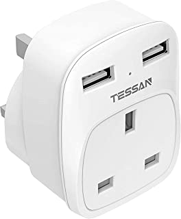 USB Wall Plug Adapter, TESSAN Power Multi Plug with Dual USB Port for Home Office Hotel, 13A Fuse Inside - White