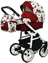Stroller 3 en 1 juego completo con asiento de coche Isofix baby tub baby carrier Buggy Colorlux White de ChillyKids Meadow Flowers Silla de auto 4 en 1 + ISOFIX