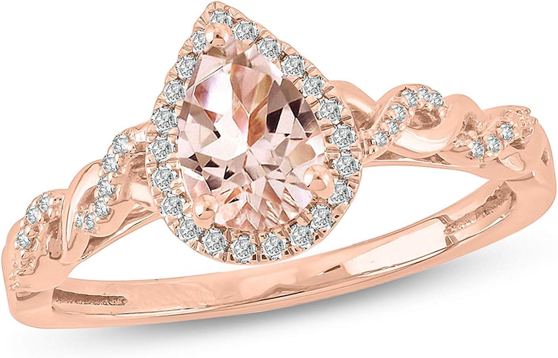 Cali Trove Pear Morganite Round White Diamond 10K Rose Gold Engagement Ring for Women