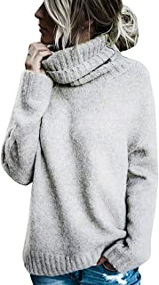 Hestenve Womens Turtleneck Knitted Sweater Casual Oversized Soft Winter Loose Fit Pullover Sweaters