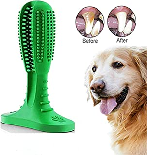 Dog Toothbrush Chow Toy, Dental Care Cleaning Stick, Natural Rubber Bite Resistant Pet Oral Care Brushing for Small Medium Large Dog Puppy