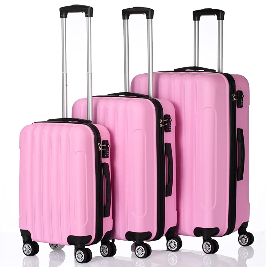 Luggage 3 Piece Set Portable ABS Durable Trolley Suitcase Spinner Hardshell Lightweight 20