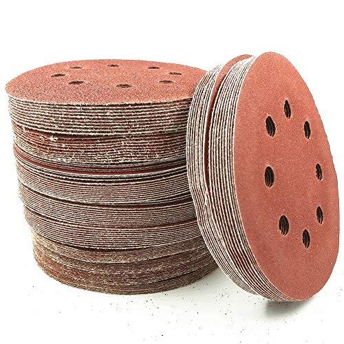 10 piezas 125mm / 5'OD Disco de papel de lija Papel de lija abrasivo Gancho y bucle Herramientas eléctricas Accesorios Granos 60 a 2000, 1500 Granos