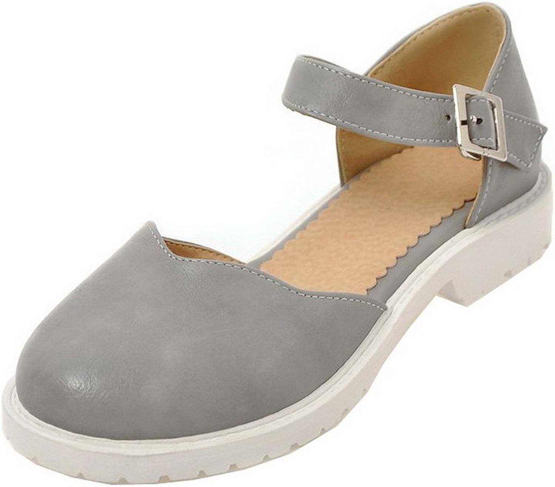 WeiPoot Women's Round-Toe Low-Heels PU Solid Buckle Sandals
