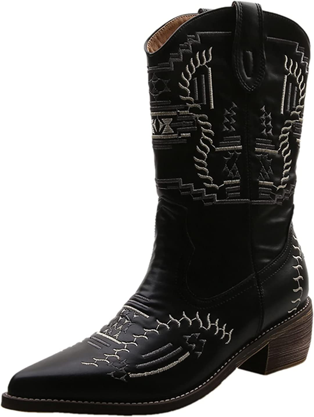 LODDD Women's Chunky High Heel Pointed Toe Mid Boots Breathable Thick-Soled Retro Embroidery Slip-on Combat Boots