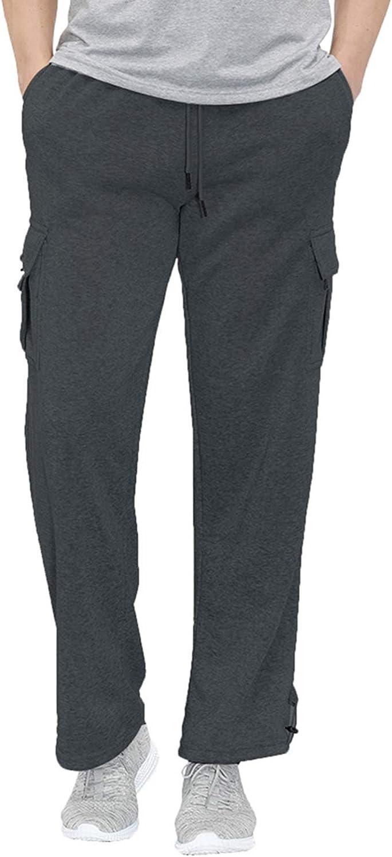 SAMACHICA Men's Casual Long Pants Loose Lightweight Drawstring Elastic Waist Summer Joggers Trousers