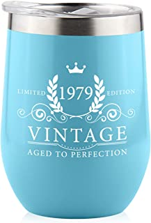 1979 40th Birthday Gifts for Women Men - Splash Proof 12 oz Stainless Steel Wine Tumbler | Funny Gift Ideas for Her Wife Mom Grandma Him Dad | Insulated Wine Glass for Party Decorations (Blue, 1979)