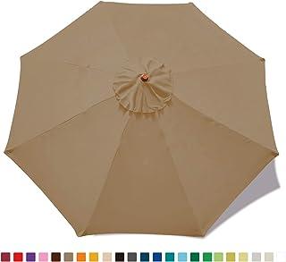 MASTERCANOPY 9ft Patio Umbrella Replacement Canopy Market Table Umbrella Canopy with 8 Ribs(Khaki)