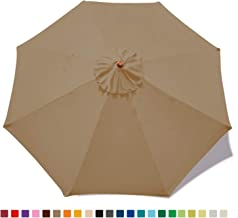 MASTERCANOPY (30+ Colors) Replacement Market Umbrella Canopy for 9ft 8 Ribs (Canopy Only) (Khaki)
