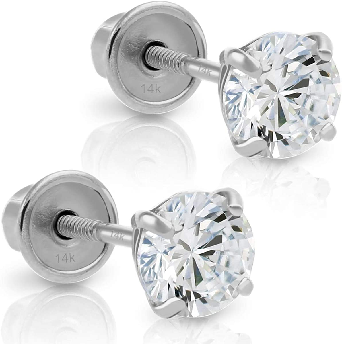 14k White Gold Made with SWAROVSKI Cubic Zirconia Solitaire Stud Earrings with Secure Screw-backs