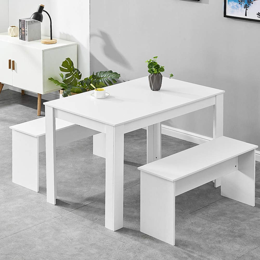 Boju White Kitchen Dining Table And 2 Benches Set Wooden Seat For 4 People Use Small Space Wooden Dinette Set Amazon Co Uk Kitchen Home