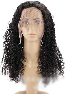 KEYI 360レースの前頭閉鎖100%人間の黒髪ブラジルのディープウェーブカーリーヘア10インチ22インチ (色 : 黒, サイズ : 14 inch)