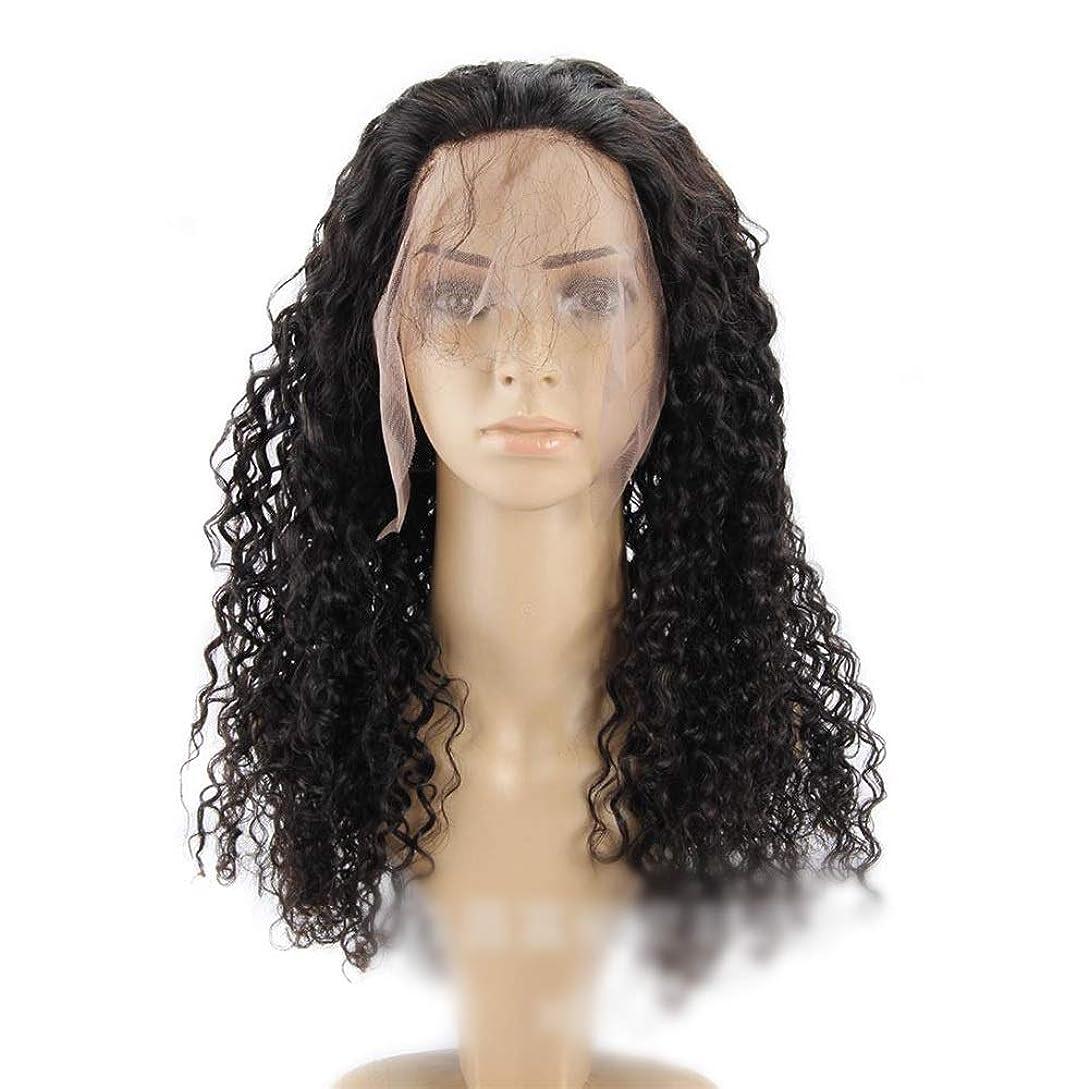 行方不明オート素朴なかつら 360レース前頭閉鎖100%人間の黒髪ブラジルの深い波カーリーヘアー10インチ-22インチロングカーリーウィッグ小さなカーリーウィッグ (色 : 黒, サイズ : 18 inch)