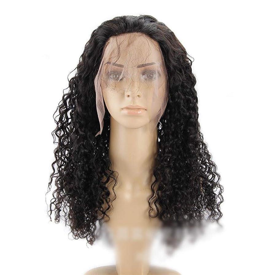 亡命妨げるアーティストYrattary 360レース前頭閉鎖100%人間の黒髪ブラジルの深い波カーリーヘアー10インチ-22インチロングカーリーウィッグ小さなカーリーウィッグ (色 : ブラック, サイズ : 14 inch)