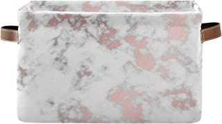 ALarge Panier de rangement chic en marbre abstrait - Panier à linge pliable - Organiseur de jouets - Sac cube avec poignée...