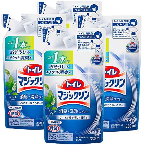 【まとめ買い】トイレマジックリン トイレ用洗剤 消臭・洗浄スプレー ミントの香り 詰替用 330ml×4個