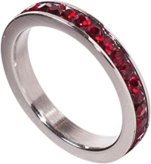 Birthstone Eternity Ring~January~Stainless Steel~Cubic Zirconia CZ Band~Garnet~Red Crystals~Stackable~Mother's Ring~Children's Ring~Women's Jewelry