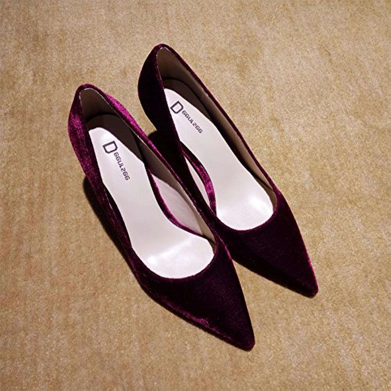 Xue Qiqi Court Schuhe Spitzhoher Absatz weiblichen Samt fein mit einzelnen Schuhe weibliche rote Brautschuhe Hochzeit Schuhe weiblich, 41, weinrote Haut 10CM