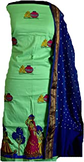 KATHIWALAS Women's Cotton Silk Kutch Work Bandhani/Bandhej Unstitched Dress Material Suit (PISTA GREEN BLUE, Free Size)