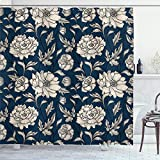 Ambesonne Aster Shower Curtain, Earth Tones Flower Petals Autumn Classic Flourishing Mother Nature Design, Cloth Fabric Bathroom Decor Set with Hooks, 70' Long, Night Blue