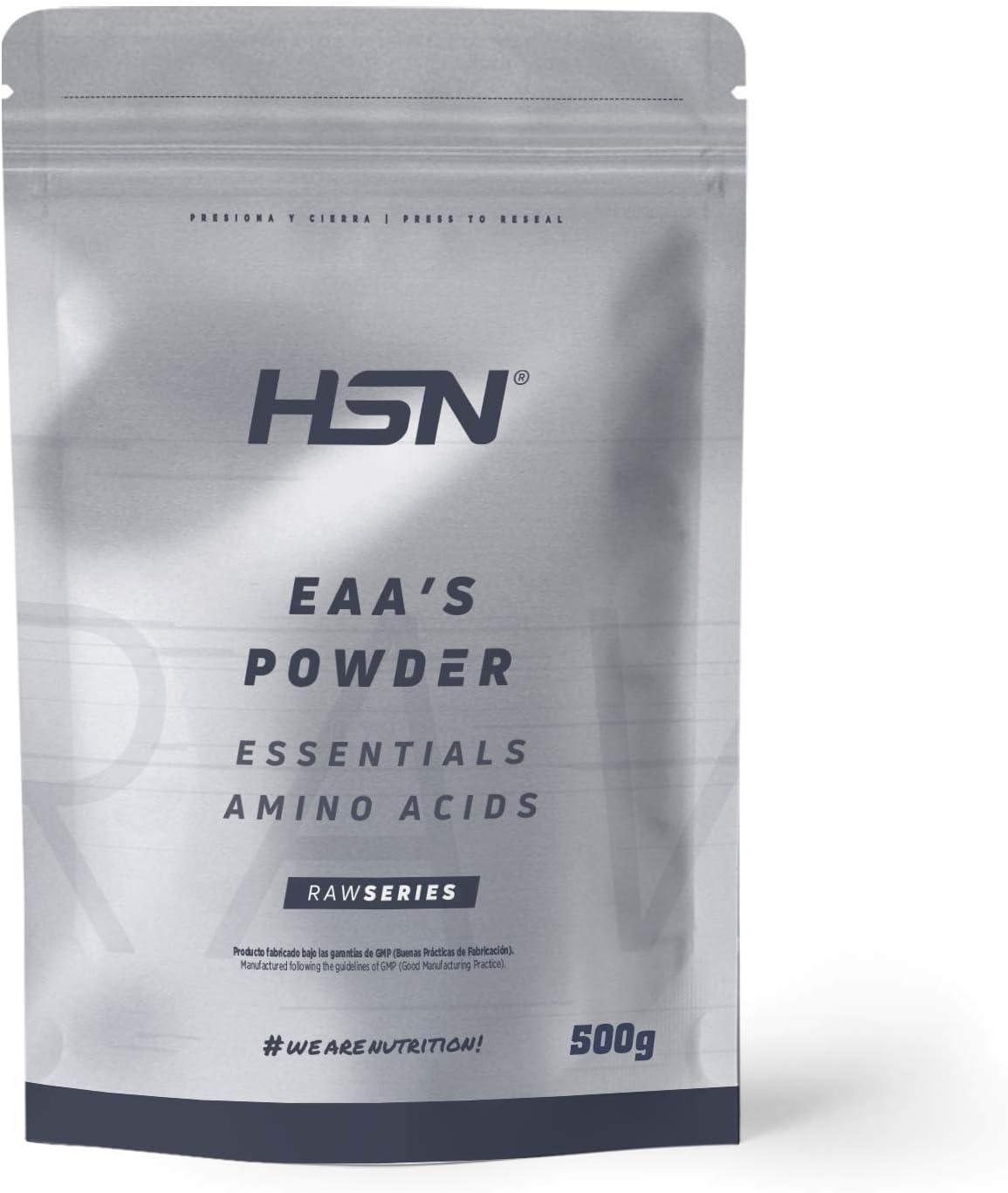 Aminoácidos Esenciales en Polvo de HSN   EAAs (Essential Amino Acids)   Síntesis de Proteínas + Aumento de Masa Muscular + Recuperador Muscular   Vegano, Sin Gluten, Sin Lactosa, Sin Sabor, 500g
