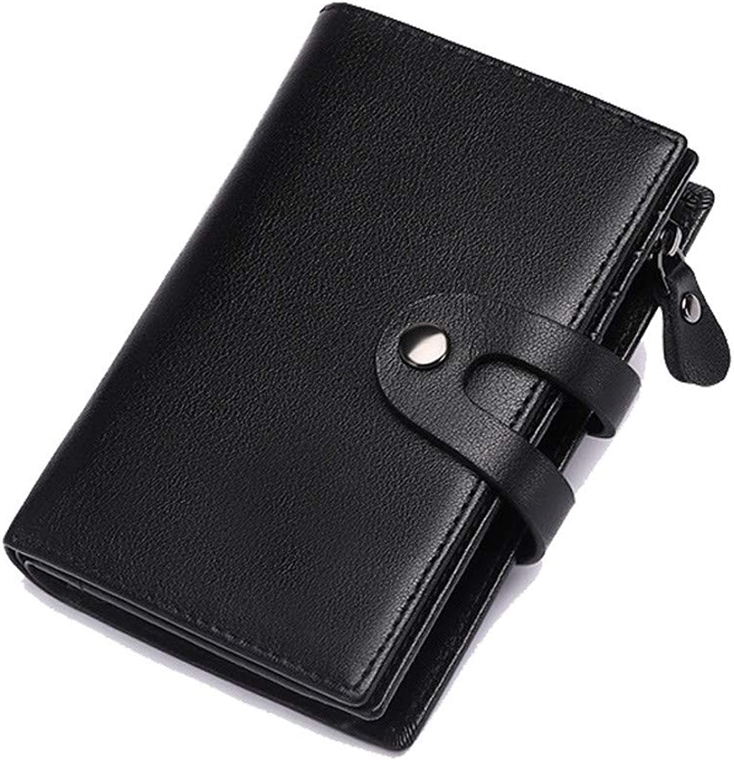 Men's and Women's Leather Wallets, MultiPurpose Short Wallet, Retro greenical Driver's License Zipper Pocket Purse,Black
