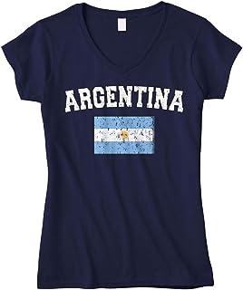 تيشيرت Cybertela برقبة على شكل حرف V بنمط علم الأرجنتين باهت اللون للنساء