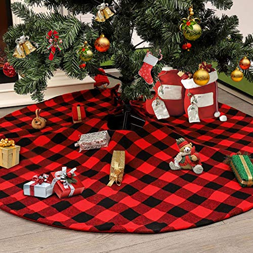 Anrapley 48 Inches Large Christmas Tree Skirt, Red and Black Plaid Buffalo Double Layers with Thick Felt Lining, Checked Tree Skirt for Xmas New Year Holiday Party Home Ornaments