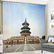Ruifulex Cortina Opacas 2 Cortinas Cortina de Ventana 3D Villa Decoración del hogar Impresión Personalizada, Arquitectura China Famosa Templo del CieloAncho 360 x Altura 270 cm