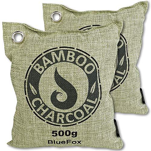 BlueFox 2er Set 500g Luftentfeuchter Bambus Aktivkohle Geruchentferner Auto Schrank Geruchseentferner Sport Anti-bakteriell gegen Schweiß Schimmel Feuchtigkeit wiederverwendbar in grün
