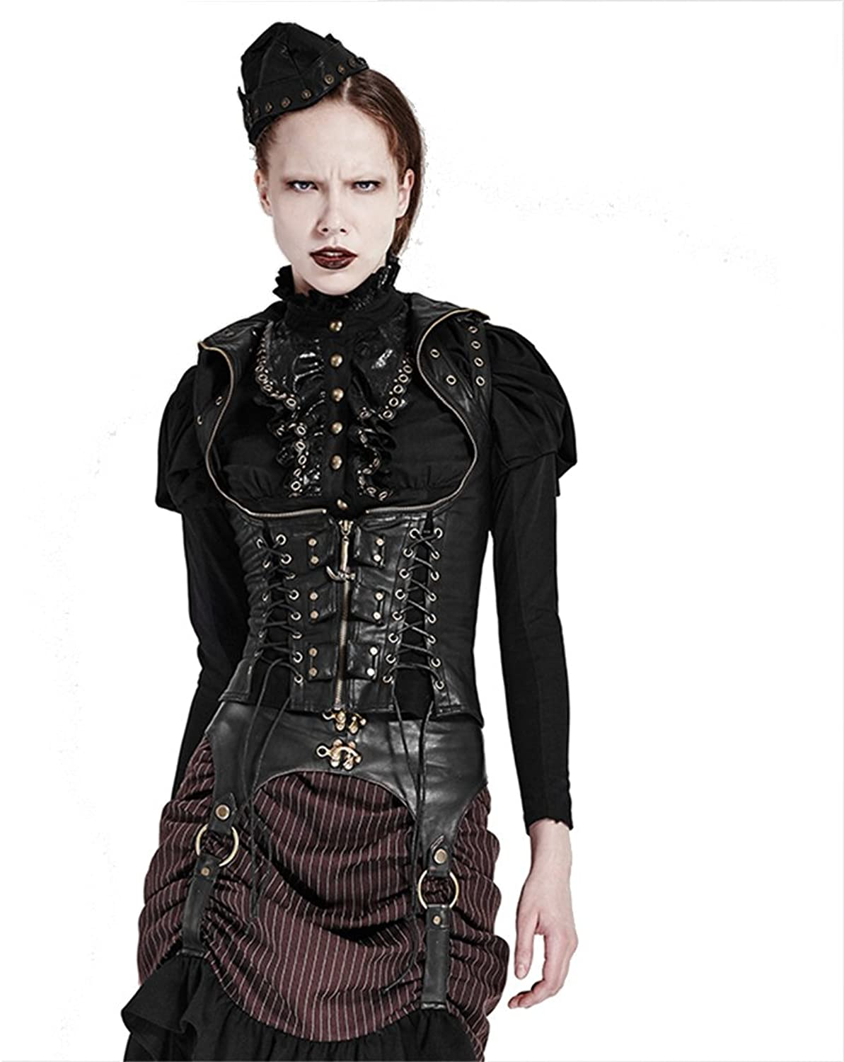 Gothic Steampunk Women's Corset Vest Leather Motorcycle Jacket Vest