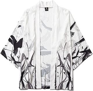 Vintage Homme kimono japonais Chemise en Lin Veste Outwear robe ample manteaux