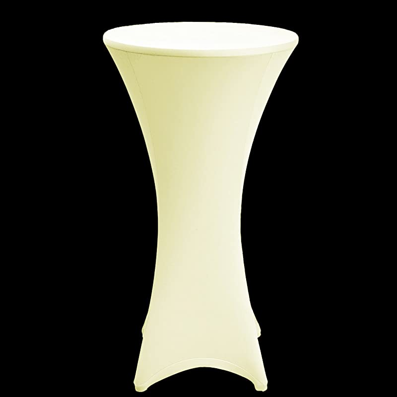 VLoveLife Ivory 32 Lycra Stretch Cocktail Poseur Dry Bar Spandex Table Cover Round Table Cloth Wedding Party Event Decoration