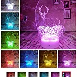 Luz Nocturna Elk Deer 3D Light Night Light    Color Led Light Usb Remote Touch Niños Adultos...