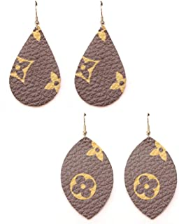 Monogram Style Leather Earrings, Designer Fashion Print