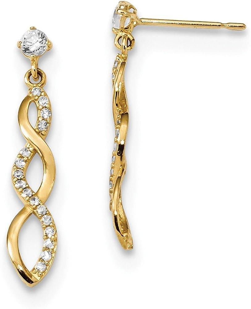 14k Yellow Gold Cubic Zirconia Cz Twisted Drop Dangle Chandelier Post Stud Earrings Fine Jewelry For Women Gifts For Her