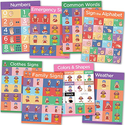 Sign Language Posters for Classroom - 8 Pack of ASL Posters for Kids