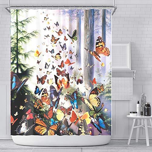 YULUOSHA Duschvorhang mit Schmetterlingen, Wald, Baum, Insekten, Tier, Duschvorhang, Badezimmerdekoration, mit Haken, wasserdicht, waschbar, 183 x 183 cm, Weiß