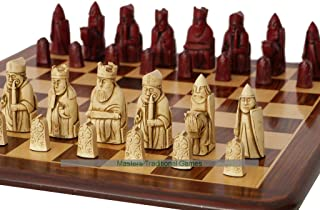 Berkeley Chess Isle of Lewis Chess Set (Cream and Red, Board Not Included)
