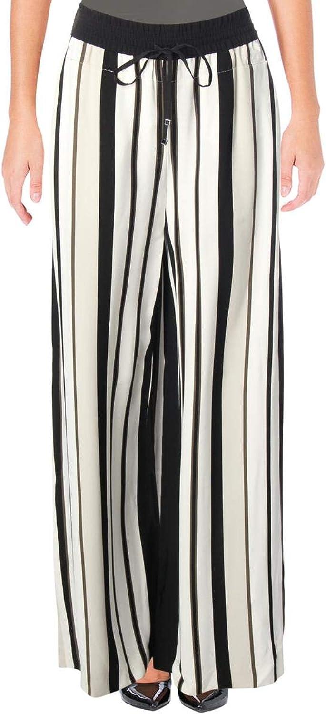 Lafayette 148 New York Womens Allen Striped Drawstring Wide Leg Pants